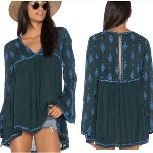 FREE PEOPLE Green & Blue Tunic